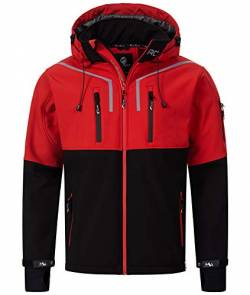 Rock Creek Herren Softshell Jacke Outdoor Jacke Windbreaker Übergangsjacke Anorak Kapuze Regenjacke Winterjacke Herrenjacke Jacket H-222 Rot S von Rock Creek