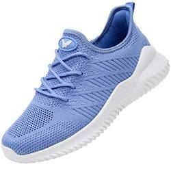 RomenSi Damen Memory Foam Slip on Walking Schuhe Tennis Running Sneakers (US5.5-10 B(M), Blau (blau), 39.5 EU von RomenSi