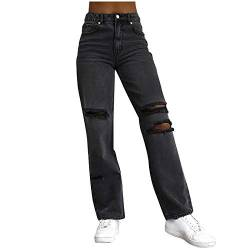 Ronony High Waist Schmetterlingsdruck Straight Jeans, Fashion Y2k Baggy Wide Leg Damenjeans, E-Girl Style Freizeithose Boyfriend Jeans Vintage Jeanshose Damen Straight Leg Hose mit Hoher Taille Hose von Ronony