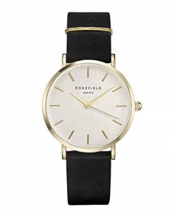 Rosefield Damen Analog Uhr The West Village Schwarz Gold WBLG-W71 von Rosefield
