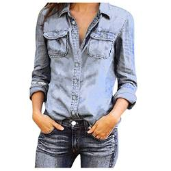 Damen Jeans Hemd Rosennie Frauen Mode Casual Hemd Blue Jean Denim Langarm Shirt Tops Bluse Jacke Womens Jeansbluse Hemdbluse Langarmbluse Jeansjacke Frühling Sommer Herbst Oberteile (Schwarz,L) von Rosennie_Bluse
