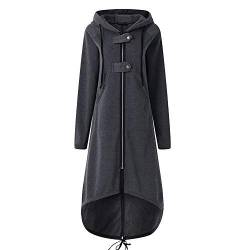 Rosennie Damen Hoodies Sweatjacke Winter Jacke Mantel Frau Lange Mantel mit Kapuze Jacke Outwear Frauen Warm Zipper Long Coat Fashion Solid Stricke Pullover Parka Wintermantel von Rosennie_Bluse