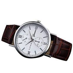 Rosennie Herren Chronograph Quarz Uhr mit Leder Armband Analog Quarz Uhr mit Chronograph Herrenuhr Retro Lederbanduhr Armbanduhr Kunstleder Watches Business Uhr von Rosennie
