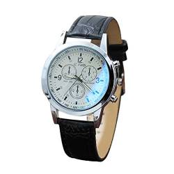 Rosennie Herrenuhren Leder Armbanduhren Quarzuhren Ultradünne Business Uhr Blau Ray Glass Watch Quarz simuliert die Armbanduhr Sportuhr von Rosennie