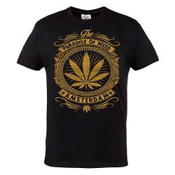 Rule Out Herren Cannabis T-Shirt. Amsterdam. Paradise of Weed. Casual. Schwarz (Größe Medium) von Rule Out