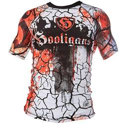 Rule Out Herren Kurzarmliges Funktionsshirt. Hooligans Kompressionsshirt. Gym. Crossfit Rash Guard (Größe Large) von Rule Out