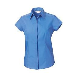 Russell Collection Easy Care Fitted Poplin Bluse, Kurzarm (L) (Blau) von Russell