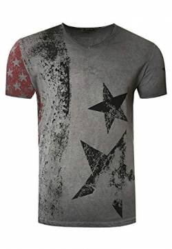 Herren T-Shirt USA Stars and Stripes V-Neck Regular Fit Rundhals Verwaschen S M L XL XXL 3XL 236, Farbe:Anthrazit, Größe S-3XL:XL von Rusty Neal