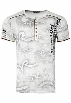 T-Shirt Herren Knopfleiste Kurzarm Rundhals Tshirt All Over Printed Light Washed Regular Fit 246, Farbe:Grau, Größe S-3XL:XL von Rusty Neal