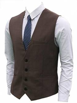 Ruth&Boaz Men's 3Pockets 4Button Business Suit Waistcoat (XL, Brown) von Ruth&Boaz