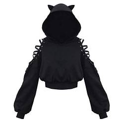 Damen Hoodie Hollow Out Langarm Kapuzenpullover Bauchfrei Sweatshirt Gothic Oberteil T-Shirt Punk Schwarz Cat Ear Bluse Crop Tops von SEEGOU