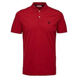 SELECTED HOMME Herren Shdaro Ss Embroidery Polo Noos T-Shirt , Rot (Scarlet Sage) , Medium von SELECTED HOMME