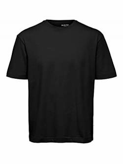 SELECTED HOMME Herren SLHLOOSEGILMAN220 SS O-Neck Tee S NOOS T-Shirt, Black, XL von SELECTED HOMME