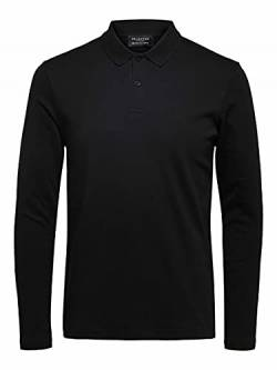 SELECTED HOMME Herren SLHPARIS LS B NOOS Polo, Black, M von SELECTED HOMME