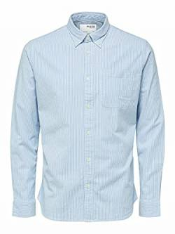 SELECTED HOMME Herren SLHREGRICK-OX Flex Shirt LS S NOOS Hemd, Skyway/Stripes:Stripes, L von SELECTED HOMME