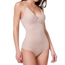 SHAPERIN Damen Comfort Shapewear Body Figurformend Top V Ausschnitt Body Shaper Bauch Weg Unterwäsche mit Hakenverschluß in Hautfarbe Schwarz(Beige-2,M) von SHAPERIN