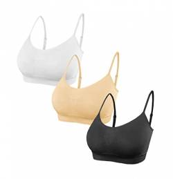 SHEKINI Damen Nahtlose Komfort Gepolsterte Bra Armband BH Bustier Push up Yoga Stretch Ohne Bügel Light Sports BH Yoga Bra Top für Yoga Fitness-Training 3er Pack (XS/S, A) von SHEKINI
