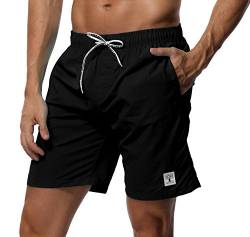 SHEKINI Herren Badehose Beach Shorts Einfarbig Board Shorts Swimming Trunks (30, Schwarz) von SHEKINI