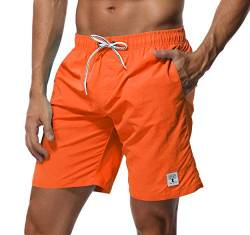 SHEKINI Herren Badehose Beach Shorts Einfarbig Board Shorts Swimming Trunks (36, Orange) von SHEKINI