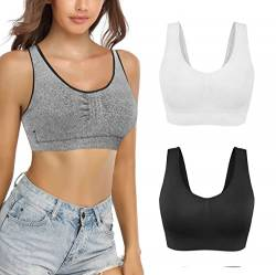 SHEKINI Sport BH für Damen Bustier BH Yoga Tops Bralette abnehmbare Polsterung Nahtlos Racerback Top mit Gepolsterte Cups Comfort Fitness-Training Strech BH 3er Pack (XS/S, Assorted 2) von SHEKINI
