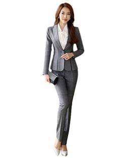 SK Studio Damen Business Hosenanzuge Slim Fit Blazer Reverskragen Karriere Hosen Anzug Set Grau 42 Tag 3XL von SK Studio