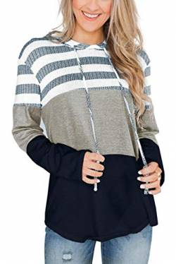SMENG Damen Color Block Lace Triple Hoodies Streifen Pullover Langarm Tops,Navy,S von SMENG