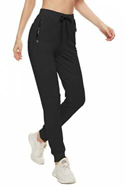 SMENG Jogginghose Damen Loungewear Workout Hosen Stretch Joggpants Stretch Freizeithose Lockere Hosen High Waist Trainingshose Mit Taschen Schwarz M von SMENG