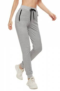 SMENG Jogginghose Damen Loungewear Workout Hosen Stretch Joggpants Stretch Freizeithose Lockere Hosen High Waist Trainingshose Mit Taschen Grau M von SMENG