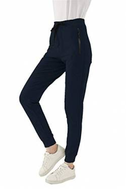 SMENG Jogginghose Damen Loungewear Workout Hosen Stretch Joggpants Stretch Freizeithose Lockere Hosen High Waist Trainingshose Mit Taschen Navy S von SMENG