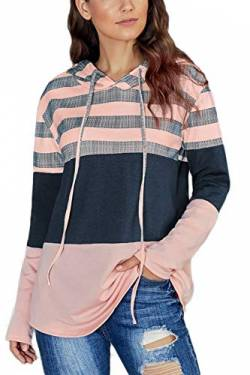 SMENG Damen Color Block Lace Triple Hoodies Streifen Pullover Langarm Tops,Rosa,XL von SMENG