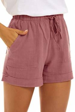 SMENG Womens Oversize Casual Pants for Summer Workout Drawstring Solid Colour Simple Shorts Lounge with Pockets Rosa XXL von SMENG