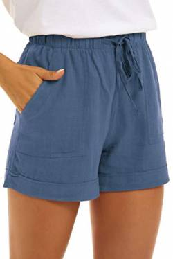 SMENG Womens Oversize Casual Pants for Summer Workout Drawstring Solid Colour Simple Shorts Lounge with Pockets Staubiges Staubiges Blau XXL von SMENG