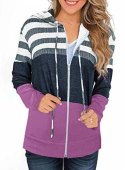 SMENG gestreiftes Langarmhemd Frauen Color Block Bequeme Hoodie Kordelzug Splice Hooded Sweatshirts Zipper Baggy Jumpers Tops Violett Size M von SMENG
