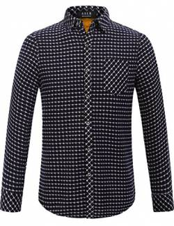 SSLR Herren Standard Fit Camp Casual Langarm Fleece Gefüttert Plaid Flanell Shirt (Medium, Marine) von SSLR