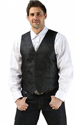 STARS & STRIPES Old Style Herren Western Weste Lincoln - Westernwear-Shopo Edition Vintage Oldstyle Westernkleidung Westernbekleidung Old Style Herren Weste (X-Large) Schwarz von STARS & STRIPES