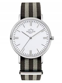 Sailor Damen Herren Uhr Classic Analog Quarz mit Nylon Armband Anchor Silber-schwarz SL101-1018-40, Farbe Ziffernblatt:weiß, Durchmesser:40mm von Sailor