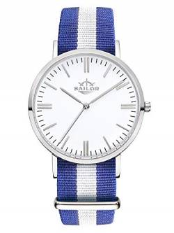 Sailor Damen Herren Uhr Classic Analog Quarz mit Nylon Armband Captain blau-weiß, SL101-1011-40 von Sailor