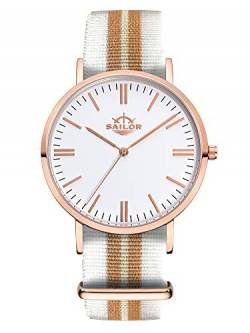 Sailor Damen Uhr Classic Analog Quarz mit Nylon Armband Beach weiß-Gold, SL101-2001-36 von Sailor