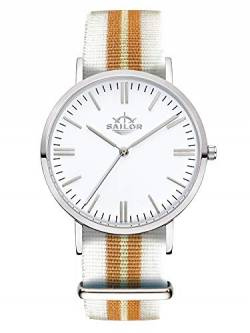 Sailor Damen Uhr Classic Analog Quarz mit Nylon Armband Beach weiß-Gold, SL101-1001-40 von Sailor