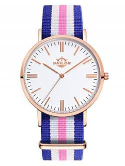 Sailor Damen Uhr Classic Analog Quarz mit Nylon Armband Port Side blau-weiß-rosa, SL101-2012-36 von Sailor