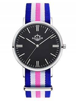 Sailor Damen Herren Uhr Classic Analog Quarz mit Nylon Armband Port Side blau-weiß-rosa SL101-1012-40s, Farbe Ziffernblatt:schwarz, Durchmesser:40mm von Sailor