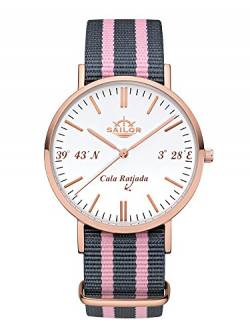 Sailor Damen Herren Uhr Edition Analog Quarz mit Nylon Armband Edition Ratjada SL101-2023-40 von Sailor