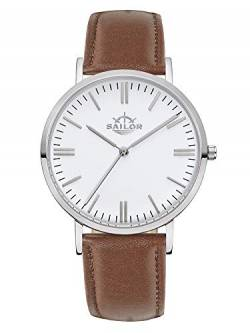 Sailor Damen Herren Uhr Classic Analog Quarz mit Leder Armband Basic braun, SL101-1022-36 von Sailor