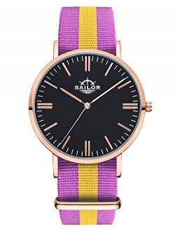 Sailor Damen Uhr Classic Analog Quarz mit Nylon Armband Port Antonio lila-gelb SL101-2003-40s, Farbe Ziffernblatt:schwarz, Durchmesser:40mm von Sailor