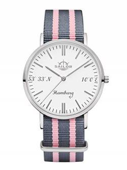 Sailor Damen Herren Uhr Edition Hamburg Analog Quarz mit Nylon Armband Silber, SL101-1114-40 von Sailor