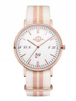Sailor Damen Herren Uhr Edition Sylt Analog Quarz mit Nylon Armband Rosegold SL101-2060-40, Farbe Armband:Beach von Sailor