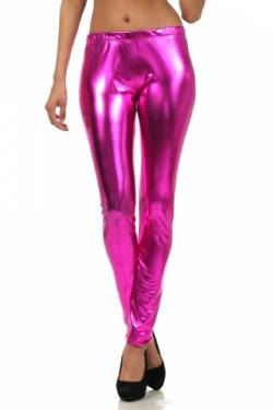 Sakkas Footless Liquid Wet Look Metallic Stretch Leggings - Pink/Klein von Sakkas