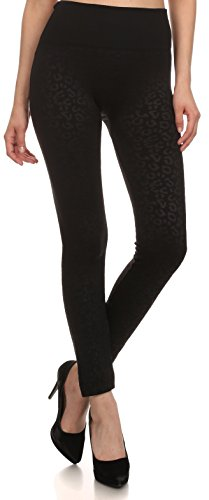Sakkas YC1501 - Frauen Patterned Soft Fleece gefüttert High Taille Leggings - Schwarz - One Size Regular von Sakkas