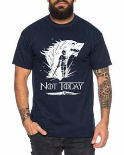 Not Today II - Herren T-Shirt Targaryen Thrones Game of stark Lannister Baratheon Daenerys Khaleesi tv blu-ray DVD, Farbe:Dunkelblau, Größe:4XL von Sambosa