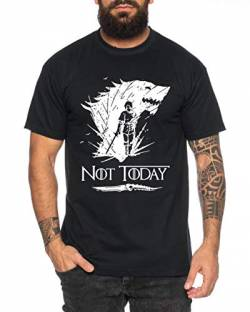 Not Today II - Herren T-Shirt Targaryen Thrones Game of stark Lannister Baratheon Daenerys Khaleesi tv blu-ray DVD, Farbe:Schwarz, Größe:S von Sambosa